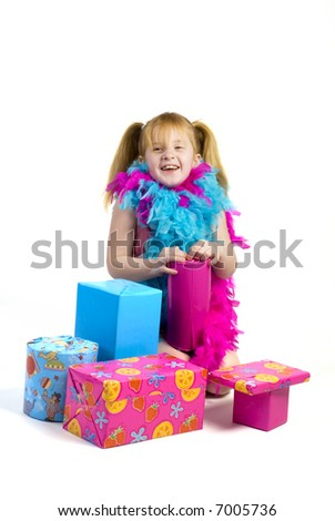 happy girl with birthday presents and gifts - stock photo