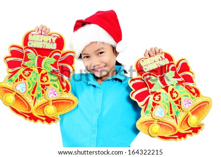 Happy girl with christmas bells. Isolated in white background. - stock photo