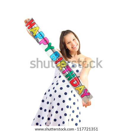 Happy girl with colorful birthday card, isolated - stock photo