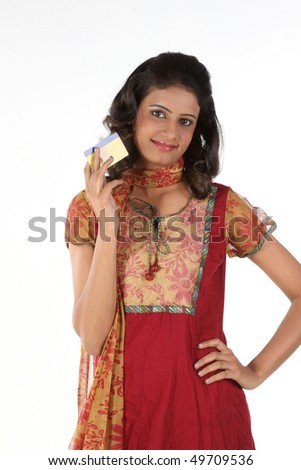 Happy girl with credit card - stock photo