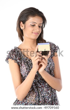 Happy girl with credit card