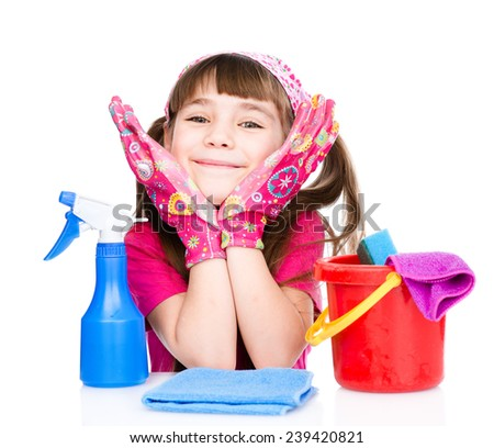 Happy girl with equipment for cleaning the house. isolated on white background - stock photo