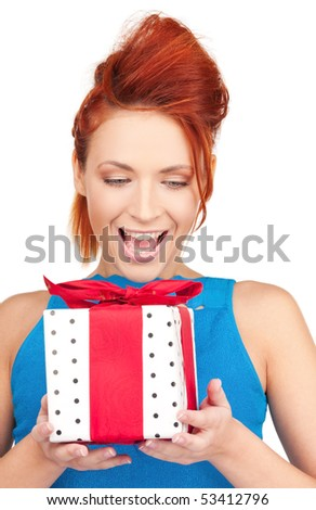 happy girl with gift box over white - stock photo