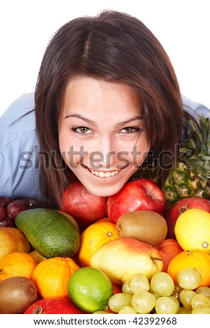 Happy girl with group of  fruit. Isolated.