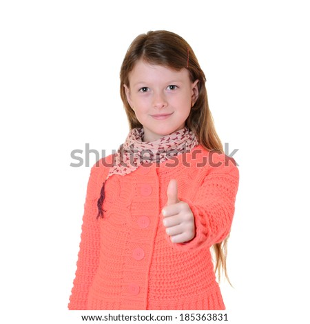 happy girl with hands thumbs up - stock photo