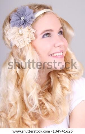 Happy girl with headbands in hippy style - stock photo