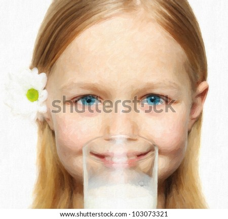 Happy girl with milk. Computing realistic oil painting style. - stock photo