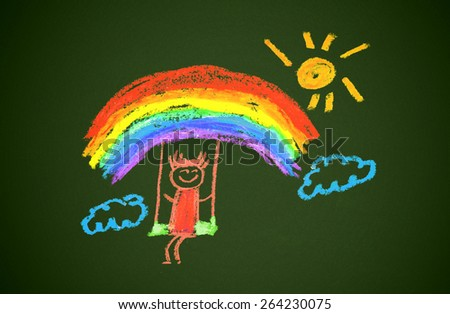 Happy girl with rainbow and sun