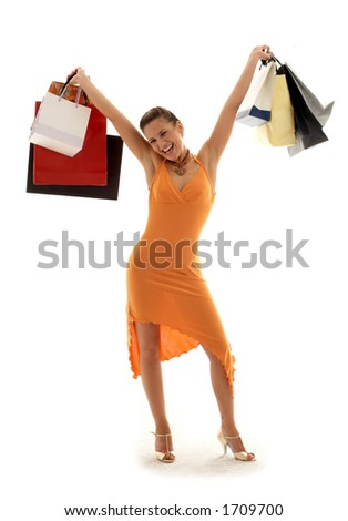 happy girl with shopping bags - stock photo