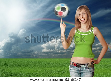 happy girl with soccer ball - stock photo