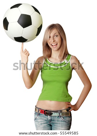 happy girl with soccer ball goes to Africa 2010 - stock photo