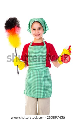 Happy girl with sprinkler and duster, isolated on white - stock photo