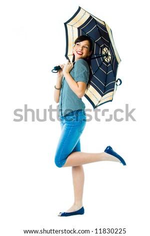 Happy girl with umbrella - stock photo