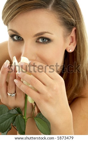 happy girl with white rose