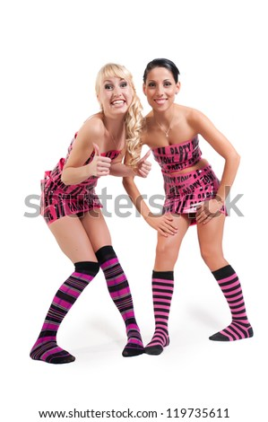 Happy girls in pink tape dress