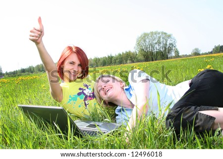 happy girls outdoors - stock photo
