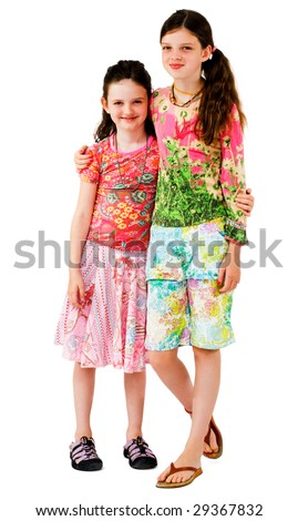 Happy girls standing together and posing isolated over white - stock photo