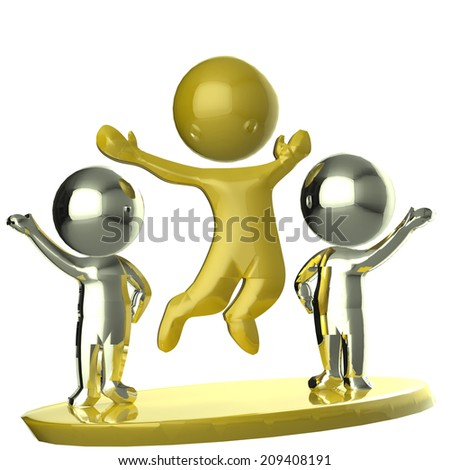 Happy golden and silver team business partners 3D image  - stock photo