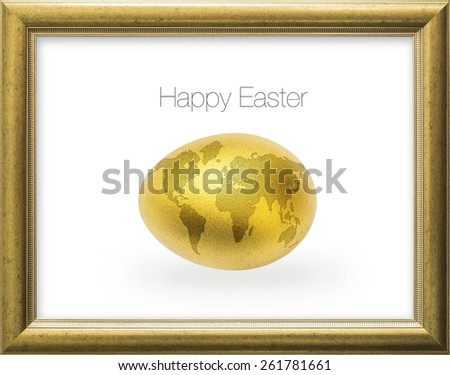 Happy golden Easter egg with world map on egg shell in a gold wood frame: A golden egg opportunity concept of fortune and a chance to be rich  - stock photo