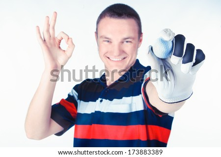 Happy golf player - stock photo