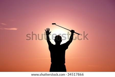 happy golfer - stock photo