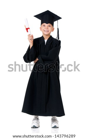 Happy graduate boy student in mantle with diploma, isolated on white background - stock photo