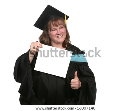 Happy Graduate Holding Blank Diploma With Her Thumb Up