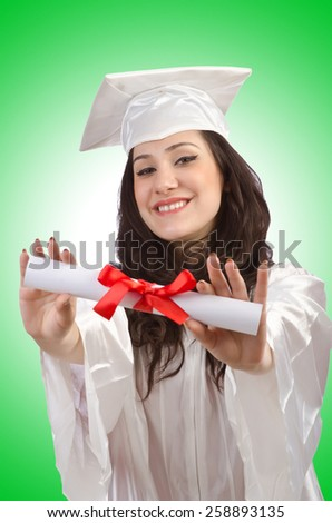 Happy graduate on white background - stock photo
