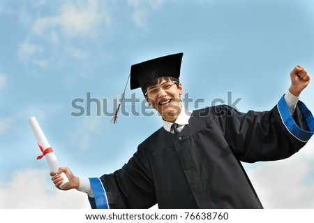 excited graduate student gown risen hands stock photo  happy graduate student in gown diploma over blue sky