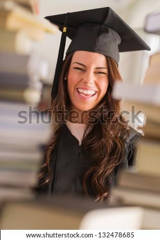 Happy Graduate Woman, Indoors - stock photo