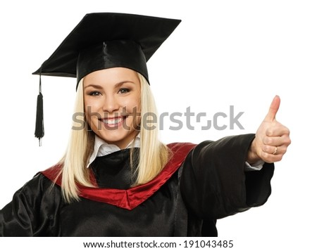 Happy graduated student girl with thumb up isolated on white - stock photo