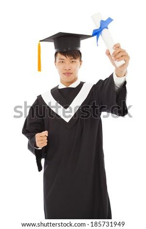 happy graduating student holding diploma - stock photo