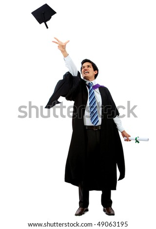 Happy graduation man throwing his mortarboard isolated over a white background - stock photo