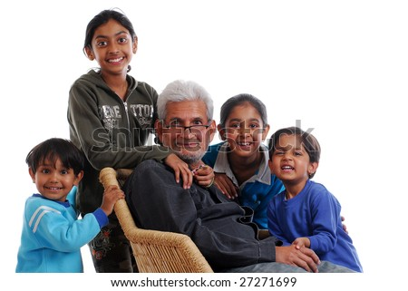 happy grand children with grand father