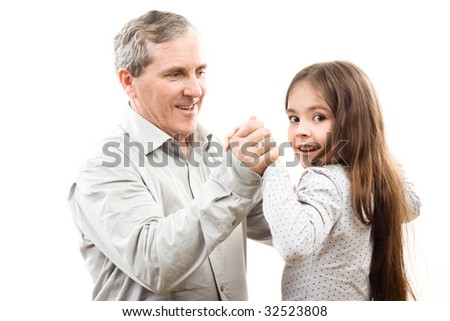Happy grandfather and granddaughter on white - stock photo