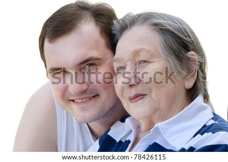 Happy grandmother and grandson