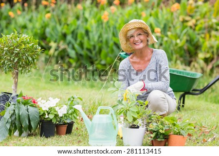 Happy grandmother gardening on a sunny day - stock photo