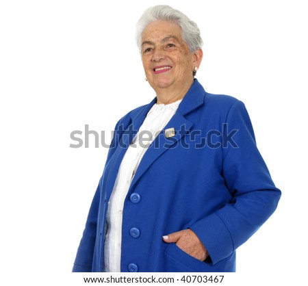 Happy grandmother isolated over white background - stock photo