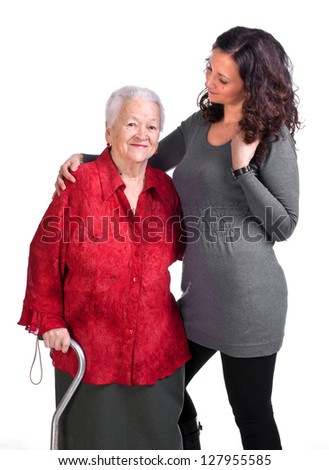 Happy grandmother with granddaughter on a white background