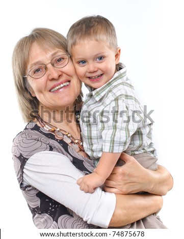 Happy grandmother with grandson vertical view - stock photo