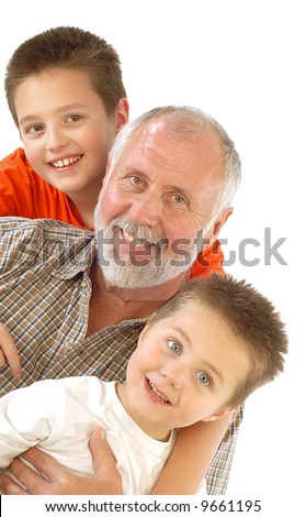 Happy grandpa and his little blessings - stock photo