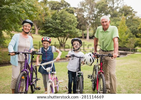 Happy grandparents with their grandchildren on their bike on a sunny day - stock photo