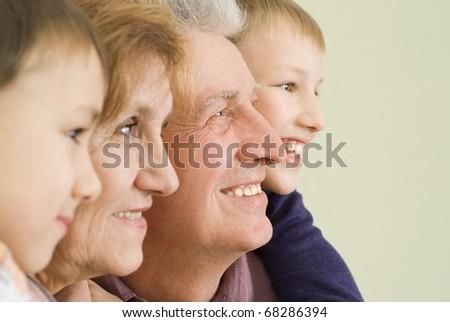 happy grandparents with their grandchildren play - stock photo