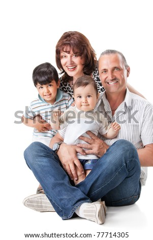 Happy grandparents with two handsome grandsons , isolated on white - stock photo