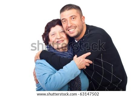 Happy grandson hugging her grandma isolated on white background - stock photo