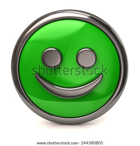 Happy green button - stock photo