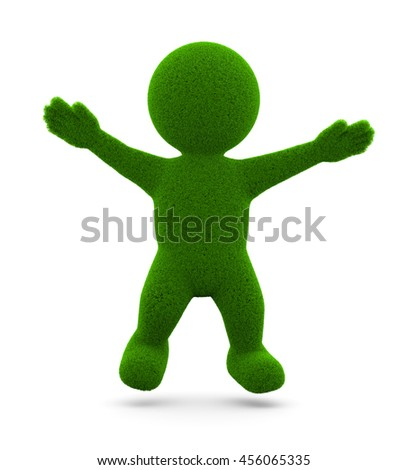 Happy Green Grassy Character 3D Illustration on White Background - stock photo