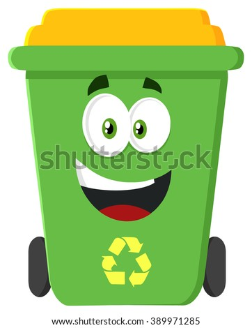 Happy Green Recycle Bin Cartoon Character Modern Flat Design. Raster Illustration Isolated On White Background - stock photo