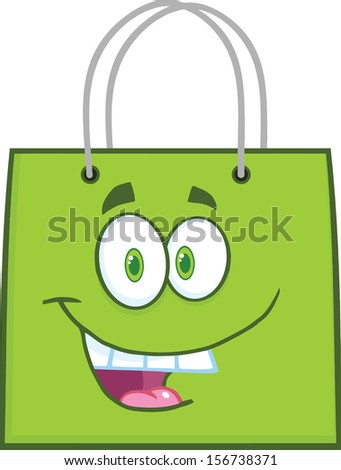 Happy Green Shopping Bag Cartoon Mascot Character. Raster Illustration - stock photo