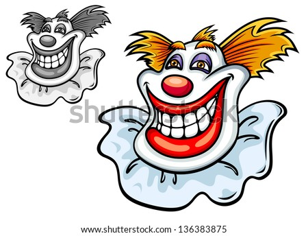 Happy grinning clowns face with a big toothy smile, a red nose and tufts of hair in colour and black and white variations, vector cartoon illustration. Vector version also available in gallery